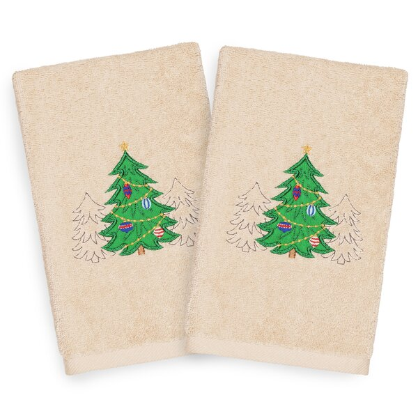 Beam Three Trees Embroidered Luxury 100% Turkish Cotton Hand Towel (Set of 2) by The Holiday Aisle